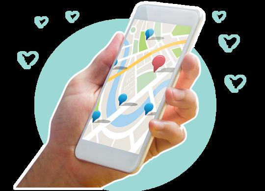 Smartphone mit Übersichtskarte im Display
